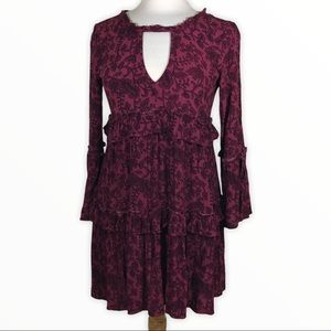 American Eagle burgundy multi tiered dress size xs